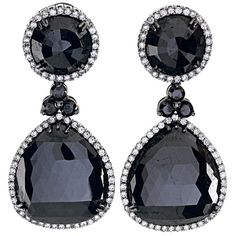 71 Carats of Black Diamonds Drop Earrings ❤ liked on Polyvore featuring jewelry, earrings, accessories, brincos, black diamond earrings, black diamond drop earrings, drop earrings and black diamond jewelry