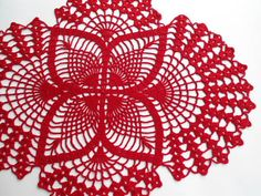 Crochet doily Red oval doilies lace home decor by kroshetmania