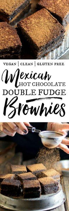 Mexican Hot Chocolate Double Fudge Brownies | vegan brownies | vegan baking | vegan chocolate recipes | clean eating | healthy vegan