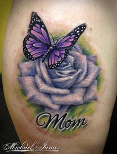 Imagen relacionada realistic butterfly tattoo, rose and butterfly tattoo, purple rose tattoos, butterfly Realistic Butterfly Tattoo, Rose And Butterfly Tattoo, Purple Rose Tattoos, Butterfly Tattoo Meaning, Butterfly Tattoo Designs, Lila Tattoos, Baby Tattoos, Body Art Tattoos, Tatoos