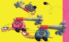 Lynne Chapman - Racing snails from When You're Not Looking, the first book I both wrote and illustrated.