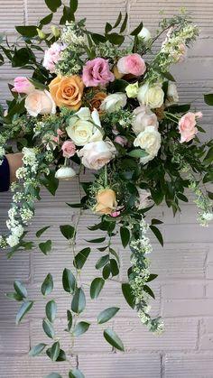 Cascading Bridal Bouquets, Spring Wedding Flowers, Bridal Bouquet Pink, Flower Bouquet Wedding, Gerbera Wedding, Funeral Floral Arrangements, Pink Flower Arrangements, Faux Flowers, Beautiful Flowers