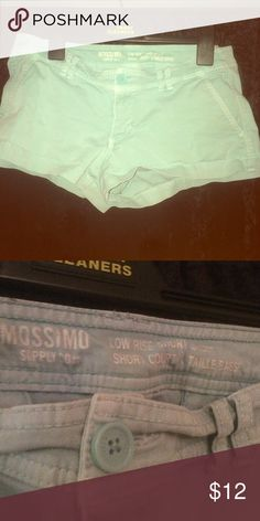 Teal green Low rise Shorts Worn twice, they have shrunk. Size 10 Mossimo Supply Co Shorts Jean Shorts