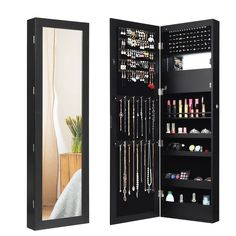 Lockable Wall Door Mounted Mirror Jewelry Cabinet with LED Lights – Hodge-PodgeFurnishings Wall Mounted Jewelry Armoire, Mirror Jewellery Cabinet, Jewelry Mirror, Jewellery Storage, Jewelry Wall, Wall Organization, Shelf Design, Body Mirror, House Rooms