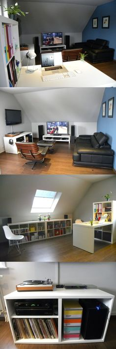 An attic loft gaming room with no visible wires, an Eames lounge chair, a natural sky light, and a record collection? Sign me up. Via NeoGAF forums user smurf. - Tap The Link Now To Find Decor That Make Your House Awesome Design Living Room, Small Room Design, Game Room Design, Game Room Decor, Room Setup, Loft Grenier, Attic Game Room, Game Room Lighting, Bedroom Lighting