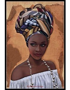 """African in White"" - French Art {figurative beautiful female headdress pearls bl. - Simone Curtis - - ""African in White"" - French Art {figurative beautiful female headdress pearls bl. Black Love Art, Black Girl Art, Art Girl, African Art Paintings, African Artwork, African Prints, African Fabric, African Beauty, African Women"