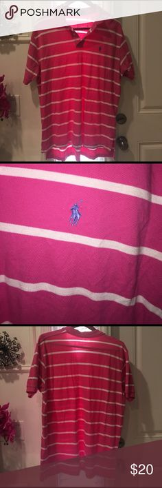 Pink/White Striped Men's Polo -XL- Polo RL Excellent condition. Worn once. Polo by Ralph Lauren Shirts Polos