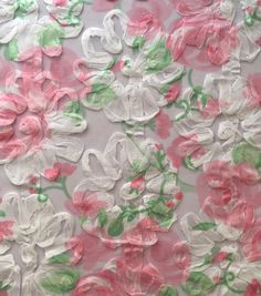 Printed Ribbon Embroidered Mesh Pink Green