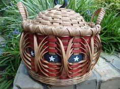 8 Round Lidded Flag Americana Basket by kimstexascreations on Etsy