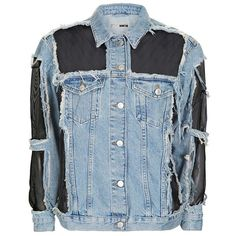 Women's Topshop Moto Organza Oversized Denim Jacket ($130) ❤ liked on Polyvore featuring outerwear, jackets, oversized jacket, evening jackets, sheer jacket, oversized denim jacket and topshop jackets