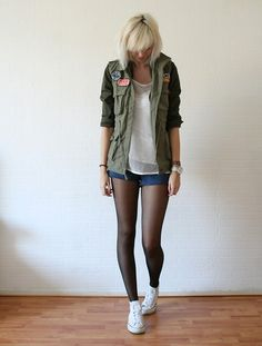 Military jacket, tights, and converse. Perfect