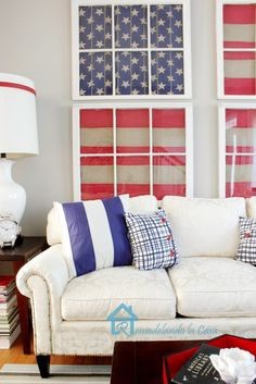 Red, White and Blue Living Room - I adore the old windows!