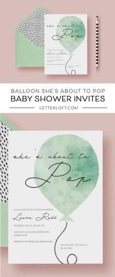 Balloon She's About To Pop Baby Shower Invites, Coed Baby Shower Invitations, For Boys, For Girls, Baby Shower Invite PDF, Printable