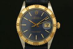 Rolex Datejust Turn-O-Graph in Stahl/Gold (ca. 1971)  Lederarmband, Blaues Zifferblatt, Strich Indexe, Gelbgold Lünette  Referenz: 1625 | 3,2 Mio-Serie  http://www.juwelier-leopold.de/uhren/rolex/vintage_2.html