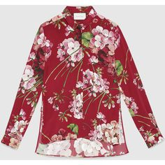 Gucci Blooms Print Silk Button-Down Shirt (2.830 RON) ❤ liked on Polyvore featuring tops, cerise, tops & shirts, womens ready to wear, red top, silk top, red button down shirt, button up shirts and silk shirt