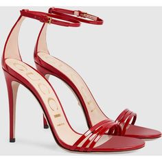 Gucci Patent Leather Sandal ($590) ❤ liked on Polyvore featuring shoes, sandals, red shoes, gucci sandals, ankle strap sandals, high heel sandals and ankle tie sandals