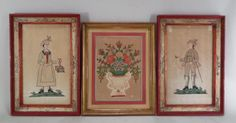 3 Framed Folk Art Works on Paper