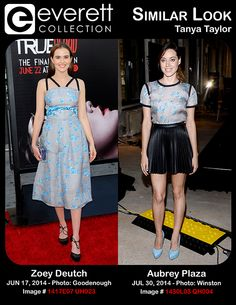 Stunning Ladies, Similar Looks: Zoey Deutch and Aubrey Plaza Wearing Tanya Taylor Zoey Deutch (wearing a Tanya Taylor dress) at arrivals for TRUE BLOOD Premiere of Season 7, TCL Chinese 6 Theatres (formerly Grauman's), Los Angeles, CA June 17, 2014. Photo By: Elizabeth Goodenough/Everett Collection *** Aubrey Plaza (wearing a Tanya Taylor top) in attendance for AOL Build Speaker Series: LIFE AFTER BETH, AOL Headquarters, New York, NY July 30, 2014. Photo By: Eli Winston/Everett Collection