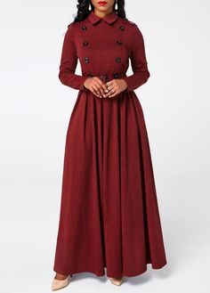 Cheap red Dresses online for sale Page 2 Cheap Maxi Dresses, Trendy Dresses, Women's Fashion Dresses, Sexy Dresses, Casual Dresses, Button Up Maxi Dress, Maxi Dress With Sleeves, Belted Dress, Dress Long