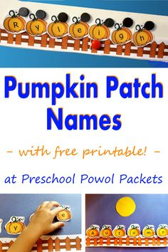 Awesome pumpkin themed name learning activity with a free printable AND loads of preschool pumpkin activities! Awesome pumpkin themed name learning activity with a free printable AND loads of preschool pumpkin activities! Name Activities Preschool, Pre K Activities, Preschool Lessons, Learning Activities, Preschool Projects, Preschool Literacy, Daycare Crafts, Classroom Projects, Preschool Printables