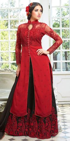 Precious Red Net Salwar Suit With Plazzo Pant And Dupatta.