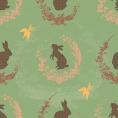 Rabbits with wreaths, carrots  / vintage wall paper