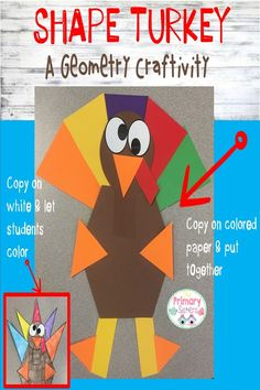 Turkey time is here! Fun geometry activity that turns into this cute turkey! Great Thanksgiving Decoration