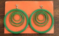 60s Bakelite Hoop Earrings