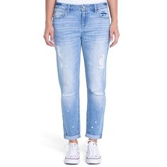 Juniors' Crave Ripped Slim Girlfriend Jeans, Teens, Size: 7, Blue Other