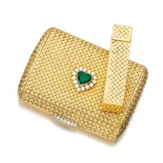 Emerald and diamond powder compact and perfume flask, Van Cleef & Arpels, 1960s | lot | Sotheby's