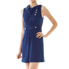 Nola Ascot Dress Blue