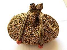 Handmade Wristlet Gold Bead sequin small black silk Indian ethnic evening bag.  #Handmade #EveningBag