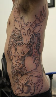 Ink It Up Trad Tattoos TattooMe | Lady, deer & horns - #tattoo by @alisonmanners