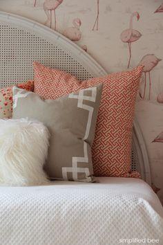 girl's bedroom with flamingo wallpaper & pillows by caitlin wilson textiles // simplified bee design #flamingo #shareyourcwt #pink