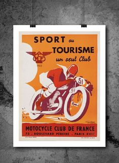 Motorcycle Sport Tourisme Club De France Travel Poster Print 8x10 Print. Motorcycle Sport Tourisme Club De France Travel Poster Print 8x10 Print - HIGH QUALITY PRINTS - Focusing on making quality prints for the Home & Office. Introducing Our : Vintage Travel Collection -This 8x10 print is Ready-To-Frame and will fit perfectly in any Frame with Mat when delivered. BEAUTIFUL WALL ART: Our posters provide daily inspiration, beauty, tranquility and are the perfect choice for the office, dorm...