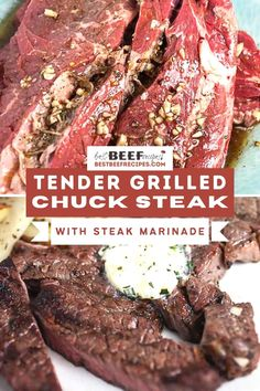 Love the flavor of ribeye steak, but can't fit it into the budget? We know how that goes, and we're here to tell you there's an alternative. That alternative is this grilled chuck steak recipe! Get ready to try the juiciest, most tender Grilled Chuck Steak recipe ever! One bite of this chuck tender steak, and we know this will be your steak of choice. via @bestbeefrecipes Grilled Chuck Steak Recipe, Chuck Steak Recipes, Good Steak Recipes, Grilled Beef, Beef Recipes, Grilled Steaks, Easy Recipes, Recipies, Cooking The Best Steak