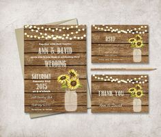 Modern and customized DIY printable wedding invitation suite - Rustic Mason Jar - Sunflower Invitation    • wedding invitation (5x7, fits inside A7