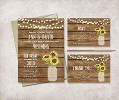 Modern and customized DIY printable wedding invitation suite - Rustic Mason Jar - Sunflower Invitation    • wedding invitation (5x7, fits inside A7