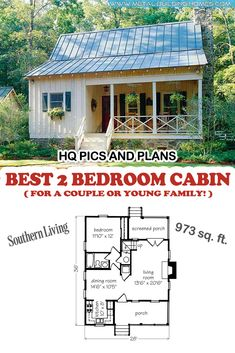 Best 2 Bedroom Cabin for a Couple or Young Family!,Best 2 Bedroom Cabin for a Couple or Young Family! This amazing cabin is just perfect for couples who are just starting a new life together. Tiny House Cabin, Cottage House Plans, Dream House Plans, Tiny House Design, Small House Plans, Cottage Homes, Two Bedroom Tiny House, Small Home Design, Small Cabin Designs