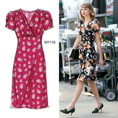 Sew the Look: McCall's M7116 dress pattern has the same updated retro look as the dress Taylor Swift is wearing here.