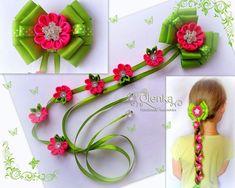 How to Make Lovely Pink Ribbon Hair Clips with Acrylic Bea Ribbon Hair Clips, Hair Ribbons, Ribbon Art, Diy Hair Bows, Diy Ribbon, Ribbon Crafts, Flower Crafts, Ribbon Bows, Kanzashi Flowers
