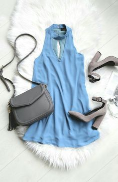 Show 'em how to shake it in the Groove Thing Slate Blue Swing Dress! A mock neck and front cutout top this flirty woven swing dress. Casual Outfits, Summer Outfits, Cute Outfits, Fashion Outfits, Womens Fashion, Emo Outfits, Punk Fashion, Lolita Fashion, Fashion Boots