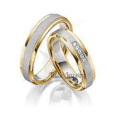 His & Hers Mens Womens Matching 14K Two Tone Gold Wedding Bands Rings Set  5mm/5mm  Sizes 4-12  Free Engraving New