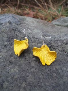 Yellow Leather Ginkgo Leaf Earrings