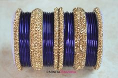 £15 www.NishaDavdra.com 30 pcs Sultan Set: Montana 24 Montana Blue bangles with four citrine edge bangles and two wide bangles to match.   Makes a perfect party piece and perfect for mix and matching with other bangles to match your outfit perfectly.  The stones are sparkling.   #Bollywoodstyle #bellydancerjewelry #bangles #bracelets #indianfashion #saree #allthingsblue #royalblue #blue #holiday #lehnga #indianbride #montana #montanablue