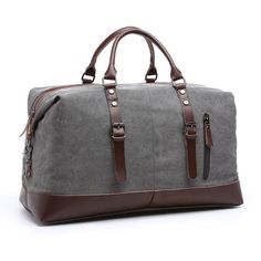 Oversized Travel Duffel Bag Waterproof Canvas Genuine Leather Weekend bag  Weekender Overnight Carryon Hand Bag Brown   Apparel   Pinterest   Duffel  bag, ... cf2c33af57