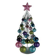 Kerstboompje met pastelkleurige ballen. Een mooie metalen decoratie kerstboom met 30 plastic kerstballen in mooie pastel kleuren. Formaat: ongeveer 41 x 15 cm.