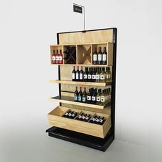 "black gondola shelves liquor store shelving   PROSECCO - Black Gondola Shelving with Wood Design - You Choose Wood Stain! 84""H Wall x 48""W"