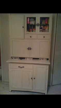 Love my Hoosier cabinet. Again chaulk paint Chai Me and dark wax. Changed out the hardware and added small chicken wire the cupboard doors. Love it.
