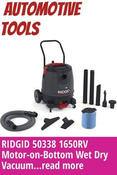 (This is an affiliate pin) RIDGID 50338 1650RV Motor-on-Bottom Wet Dry Vacuum, 16-Gallon Shop Vacuum with Cart, 6.5 Peak HP Motor, Large Wheels, Pro Hose, Drain, Blower Port Automotive Tools, Wet And Dry, Cart, Wheels, Shopping, Covered Wagon, Strollers